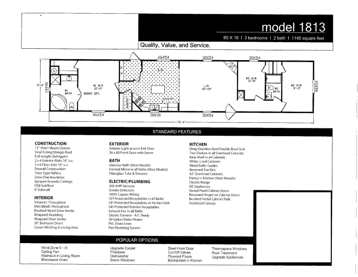 RB-1813 16x80 3Bedroom 2 Bath
