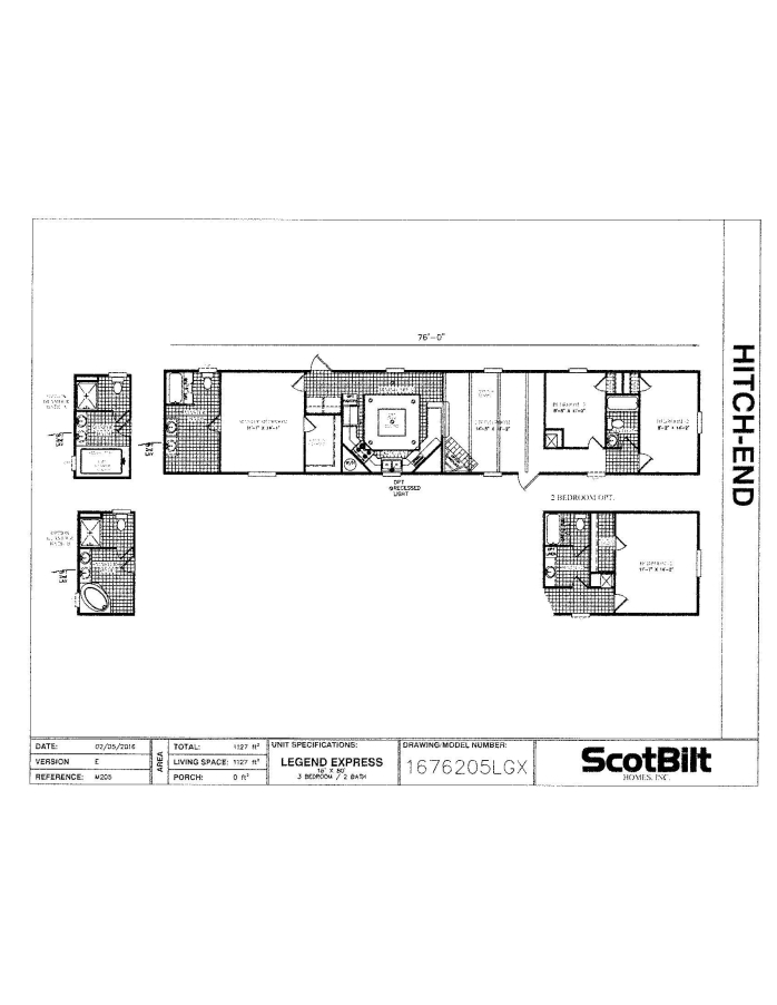 Scotbilt 16x80 3 Bedroom 2 Bath